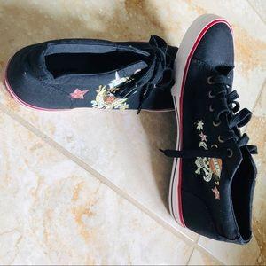 """Ed Hardy Love Kill"""" Sneaker canvas shoe sz12 Black"""